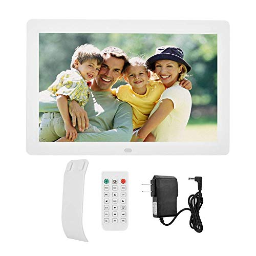 Diyeeni Marco de Fotos Digital de 12 Pulgadas con Control Remoto, Pantalla LED HD de 1280x800 Marco de Fotos electrónico con Calendario de Alarma Encendido/Apagado automático(Blanco)
