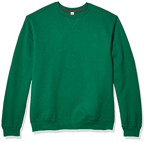 Fruit of the Loom Men's Fleece Crew Sweatshirt, Clover, Large