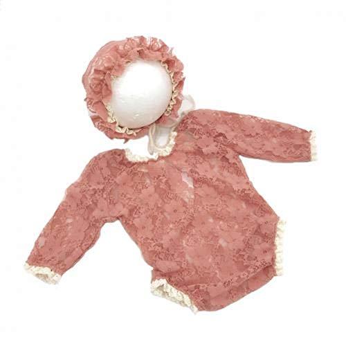 Miwaimao Baby kant schattige pasgeboren baby fotografie rekwisieten hoed jumpsuit foto schieten kostuum kleding