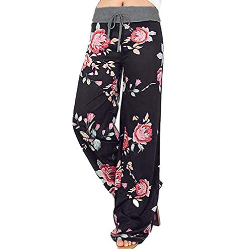 Why Choose Litetao M Gray 825081 (Floral Prints High Waist Wide Leg Lounge Pants, Women's Comfy Stretch Leopard Print Drawstring Pants)
