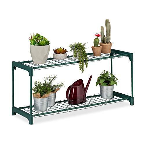 Relaxdays Estantería Plantas, Soporte Macetas, Estantes Flores, 2 Baldas, Metal-Plástico, 1 Ud, 40,5x91x28,5 cm, Verde