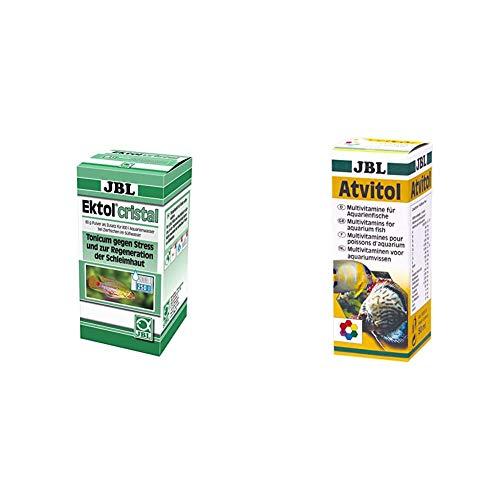JBL Ektol Cristal 1004100 Heilmittel gegen Stress für Aquarienfische, 80 g & Atvitol 20300 Multivitamin für Aquarienfische, Tropfen 50 ml