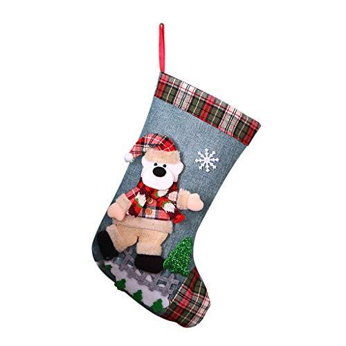 SUCES Calcetín de Navidad con estampado a cuadros, calcetines de Navidad, calcetines colgantes para decoración navideña, para rellenar y colgar azul Talla única