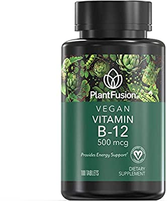 PlantFusion B12 Vegan Vitamin 500 mcg | Provides Energy Support, Plant Based, Gluten and Soy Free, Dietary Supplement, 100-Day Supply, 100 Tablets
