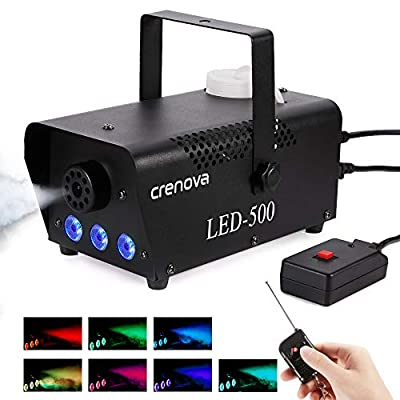 Fog Machine, 7 Color LED Lights, Crenova FM-03 Compact Portable Smoke Machine, Wireless Remote, Best Mist Machine for Halloween Party Festival Wedding Stage Effect, 500W-Black from Wuhan First Dream Land E-Commerce Ltd.
