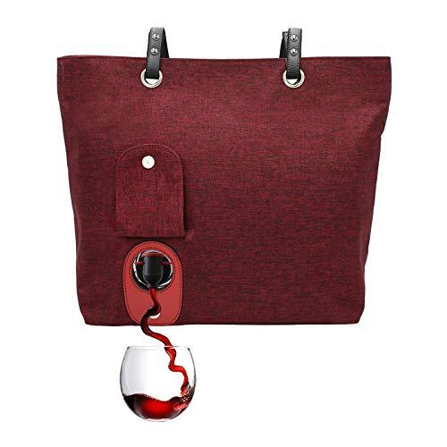 PortoVino Weinhandtasche (Weinrot) - Modisch mit verstecktem, isoliertem Fach für 2 Flaschen Wein auf dem Weg!