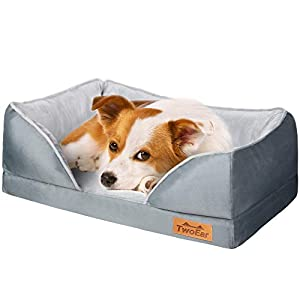 TwoEar Dog Bed Memory Foam, Orthopedic Dog Bed Sofa Couch, Calming Dog Bed, Machine Washable with Removable Cover, with Firm Pillow, for Small Medium and Large Pet Dogs and Cats up to 50lb