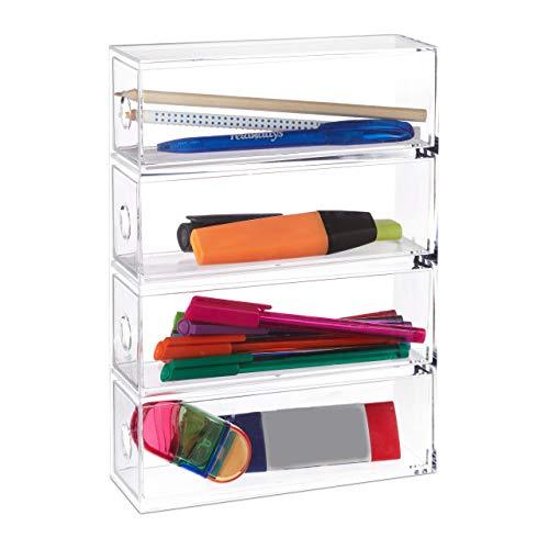 Relaxdays Organizador para maquillaje acrílico, Cuatro cajones, Organizador para baño, Transparente, 25x17,5x6,5 cm