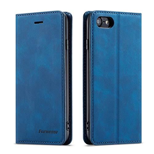 QLTYPRI Hülle für iPhone 7 iPhone 8 iPhone SE 2020, Premium Dünne Ledertasche Handyhülle mit Kartenfach Ständer Flip Schutzhülle Kompatibel mit iPhone 7 iPhone 8 iPhone SE 2020 - Blau