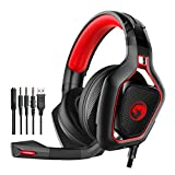 MARVO HG8960 3D-Stereo-Sound Over-Ear-Gaming-Headset, hervorragende Bässe und klare Höhen, komfortables Leder-Ohrpolster, LED-Licht, USB + 3,5-mm-Klinkenstecker für PC, Xbox, PS4, Nintendo Switch