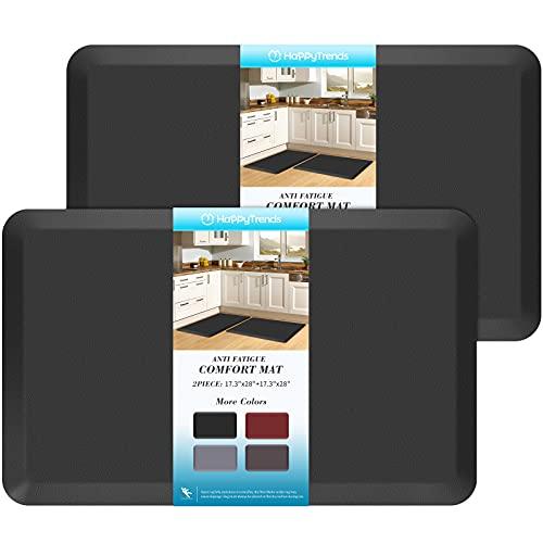 HappyTrends 2 PCS Kitchen Mat Cushioned Anti-Fatigue Floor Mat, Heavy Duty Ergonomic Comfort Foam Standing Mat, Waterproof Non-Slip Kitchen Rugs for Home, Office, Laundry,Black