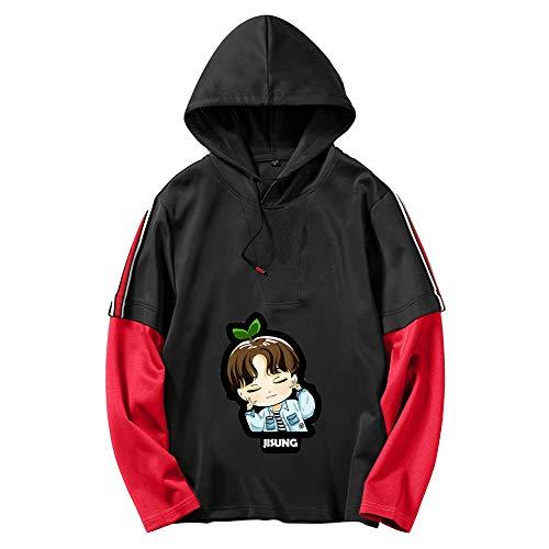 HEAIMONLA Stray Kids Pullover Stilvolles Sweatshirt Patchwork 2 in 1 Pullover Hoodies Pullover Bedruckt Langarmshirts Unisex (Color : Black08, Size : XL)