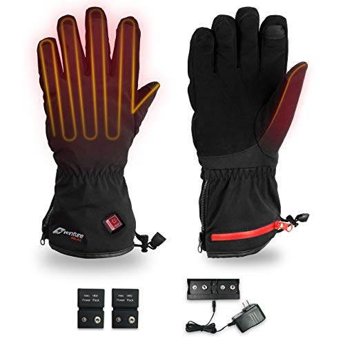 Venture Heat Insulated Heated Gloves for Men Women with Battery Packs - Hand Warmer for Skiing Snowboarding Snow, Rechargeable (XS)