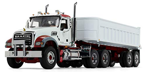 First Gear 1/34 Scale Diecast Collectible White/Red Mack Granite End Dump Trailer (10-4186)