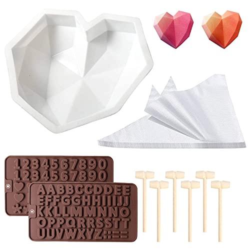 Molde de silicona para tartas con forma de corazón con forma de corazón de diamante, molde de chocolate y postre, con 6 martillos de madera, 20 bolsas desechables para decoración de pasteles