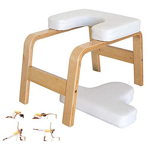 ZDWN Fitness Yoga Kopfstand Bank Inversionstrainer, Kraft-Posen, Stretches und Workouts, bauen Rumpfmuskulatur, Körperhaltung und Balance, stützender Holzrahmen, weiß, 37,5 x 57 x 35,5 cm