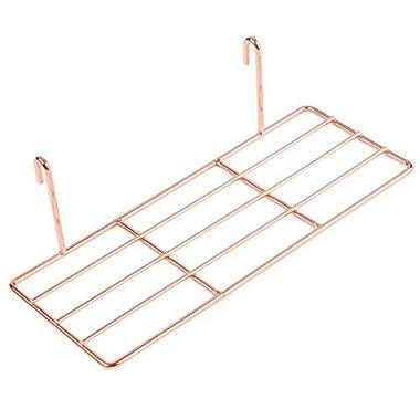 Simmer Stone Rose Gold Straight Shelf for Wire Wall Grid Panel, Flower Pot Display Shelf Rack, Wire Organizer Storage for Wall Decor, Size 9.8  L x 3.9  W