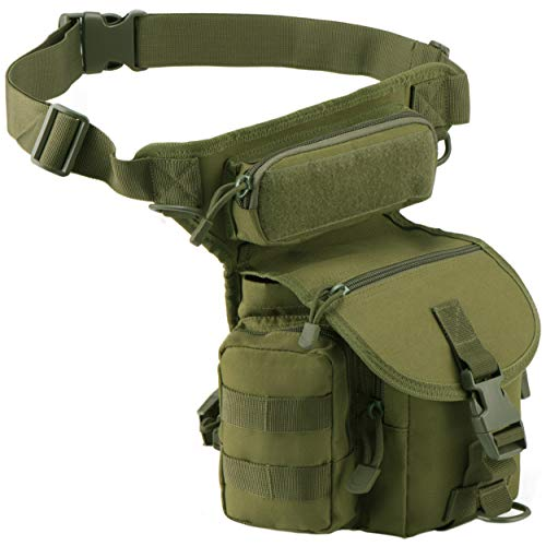 Luckin Packin Tactical Military Drop Leg Bag Metal Detecting Pouch Thigh Waist Pack for Men Green