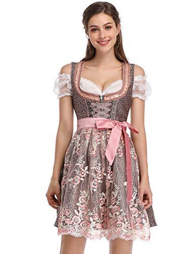 Clearlove Dirndl 3 tlg.Damen Midi Trachtenkleid für Oktoberfest- Spitzen Kleid, Bluse & Schürze, Rosa Spitzen-upgrade, 40
