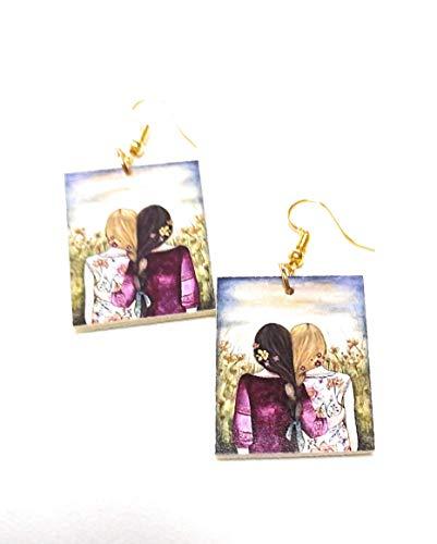 Orecchini realizzati a mano - idea regalo originale per donna e ragazza decoupage -Sorelle