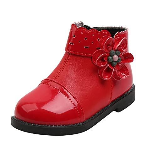 N/AA Amuse-MIU MIU Kinder Blume Schneestiefel Jungen Mädchen Baby Weichsohlen Schlupfstiefel mit Gefüttert Futter Wanderstiefel Outdoor Stiefel Kinder Schuhe, 1-6 Jahre (Rot, Alter: 3,5-4 Jahre)