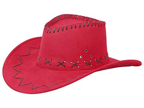 Sombrero Vaquero Cowboy Cowgirl Rojo (CW-07) Talla única para Adultos y Adolescentes Cuero Artificial Marrón Disfraz para Carnaval Fiesta Temática Western Hombre Mujer