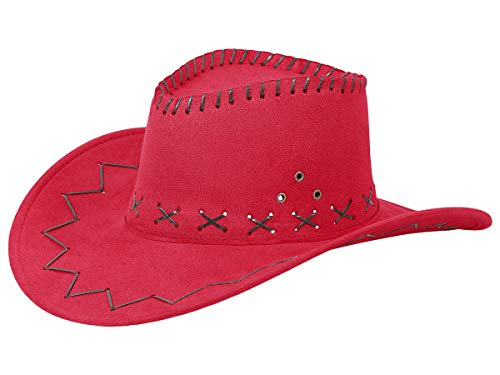 Alsino Cowboyhut Westernhut in One Size Größe aus Polyester, Rot (07)