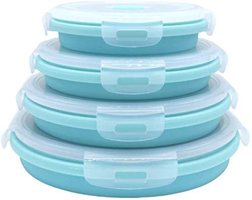 Contenitori in silicone pieghevole per alimenti, ciotole con coperchi, senza BPA, adatti al microonde e al congelatore, set di 4 contenitori rotondi in silicone Rotondo, blu, 4 pezzi.