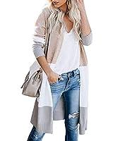 WNEEDU Womens Color Block Cardigans Long Boho Striped Draped Open Front Lightweight Knit Sweaters (S, Khaki)