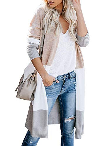 Avacoo Damen Strickjacke Lang Strickmantel Cardigan Damen Herbst Winter Casual Pulli Sweater Jacke Outwear Rosa L