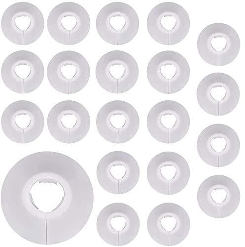 30pcs embellecedor radiador para tuberías Cubiertas para tuberías de 16mm de diámetro cubierta de tubo de radiador, collar de tubo para abrazaderas de radiador (Blancas)