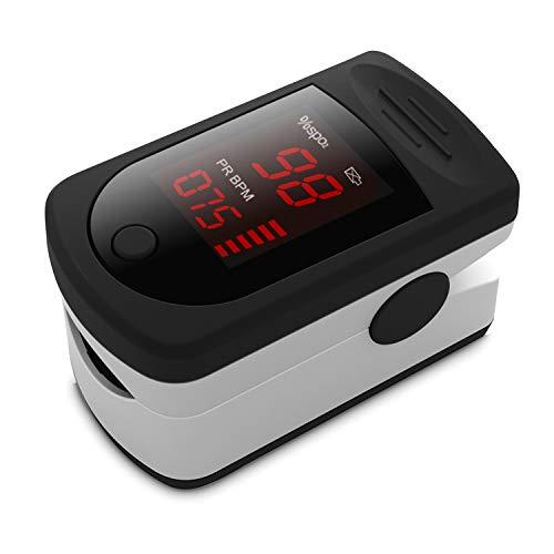 Oxímetro de Pulso, Pulsioximetro de Dedo Digital con Pantalla LED, Lectura Instantánea, para Monitorear la Saturación de Oxígeno en la Sangre