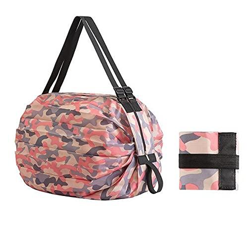 Una spalla pieghevole Eco Camouflage viaggio stoccaggio Shopping Pocket, portatile di nylon grande portatile veloce stoccaggio della spesa spesa