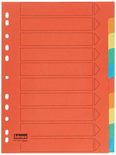 Idena 302004 - Register 10-teilig, für DIN A4, aus Karton, volldeckend, bunt, 1 Stück