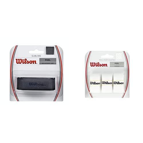 Wilson Sublime Grip Empuñadura Base, 1 Unidades, Unisex, Negro + Pro Overgrip Perforated Empuñadura, 3 Unidades, Unisex, Blanco