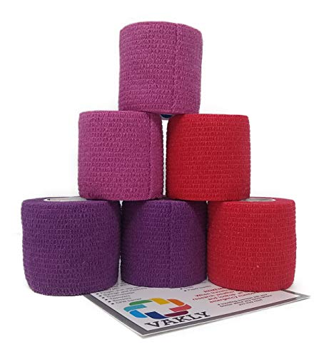 Self Adherent Cohesive Wrap Bandages [Pack of 6] Elastic First Aid Grip Tape [2 Inches X 5 Yards] - Sports Adhesive Athletic Cover Stretch - Red x2, Pink x2, Purple x2 + Vakly 1st Aid Kit Guide