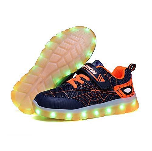 Scarpe da Ginnastica A LED per Bambini [Nuova Versione 2020] Scarpe da Ginnastica Luminose Ricaricabili per Ragazzi, Nuove Spiderman (27 EU,Arancia)