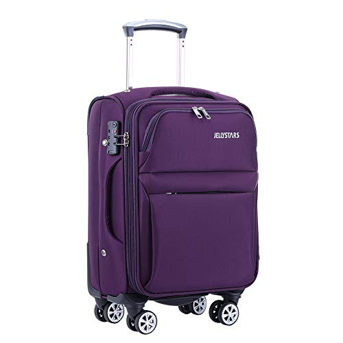 JELLYSTARS Updated 20 inch Soft Carrry on Spinner Luggage with Wheels Boarding Travel Suit Cases Smart Tourist Suitcases Buit-In TSA Lock for Women Men Waterproof Purple Color