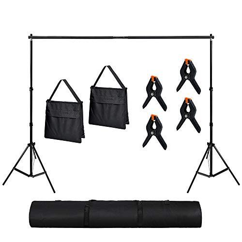 Froadp 2×3m Foto Studio Hintergrund stativ Höhe Einstellbares Ständer System inkl. Hintergrundklammern Sandsäcke und Tragbarer Tragetasche für Produktfotografie Portrait und Videoaufnahme