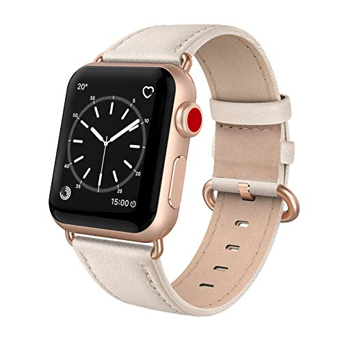SWEES Leather Band Compatible for iWatch 38mm 40mm, Genuine Leather Replacement Strap Rose Gold Buckle Compatible iWatch Series 6 5 4 3 2 1 Sports & Edition Women, Ivory White