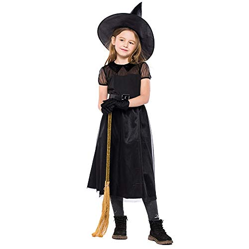 ASHOP Halloween Kostüm Kinder Mädchen, 4er Dress Gloves Hat Belt, Schwarz, S-XL