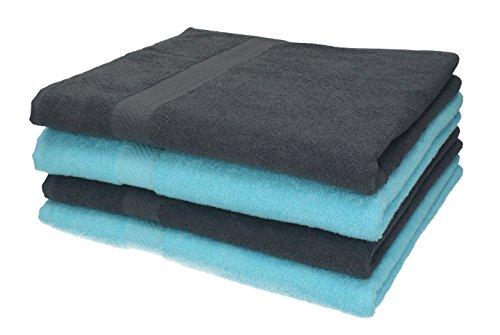 Betz 4 Stück Duschtücher Set Duschtuch Duschhandtuch Strandlaken Badetuch Palermo 100% Baumwolle Größe 70 x 140 cm Farbe anthrazit und türkis