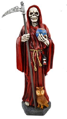 12' Red Holy Death Statue Santa Muerte Roja Grim Reaper Owl World