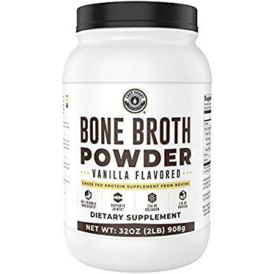 Bone Broth Protein Powder, Vanilla, Grass Fed, 2 lbs / 42 Servings (Large 32 oz Size) New Improved Formula. Low Carb, Keto Friendly, Rich in Collagen, Non-GMO, Hormone Free by Left Coast Performance