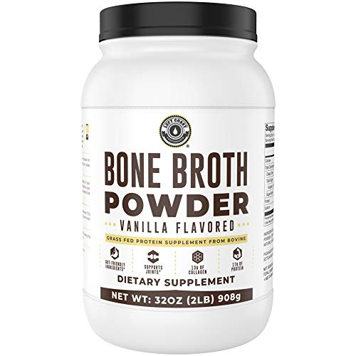 Bone Broth Protein Powder, Vanilla, Grass Fed, 2 lbs / 42 Servings, Large 32 oz Size, Low Carb, Keto Friendly, Contains Collagen, Non-GMO Ingredients, Hormone Free by Left Coast Performance