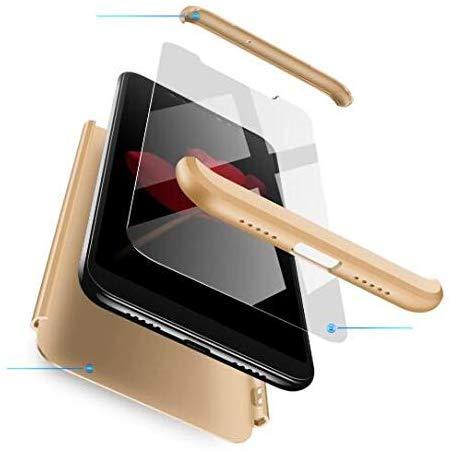 AKC Cover Compatibile Huawei Honor 7X Custodia Ultra Sottile+360°Protection Untiurto Hard Case+2 * Vetro Temperato+Antigroffio Cover-Oro