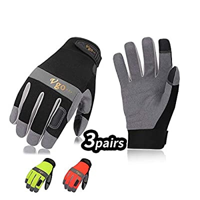 Vgo 3Pairs Synthetic Leather Work Gloves (Size S, 3Colors,SL7584)