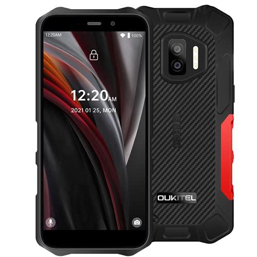 OUKITEL WP12 Pro Android 11 Móvil Resistente, (Peso Ligero), Quad Core 4GB+64GB, Batería 4000mAh, Pantalla HD+ 5.5', Cámara Triple (Submarina) 13MP,IP68 IP69K Teléfono Impermeable Dual SIM NFC Rojo