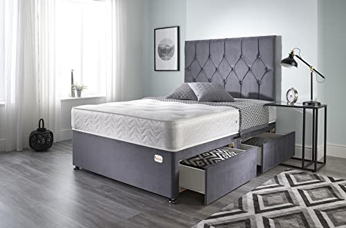 Bed Centre Ziggy Grey Plush Memory Foam Divan Bed Set With Mattress, 2 Drawer (Same Side) and Headboard (Double (135cm X 190cm))