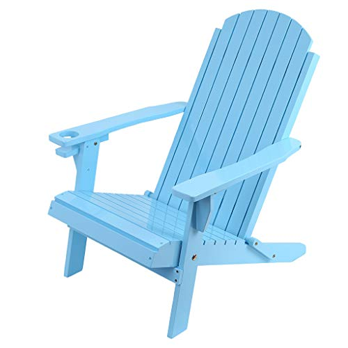 Classic Wood Folding Lounger Chair, Unpainted Outdoor Interiors Wooden Chairs, Furniture for Yard,Patio,Garden,Lawn with Natural fini (Blue)